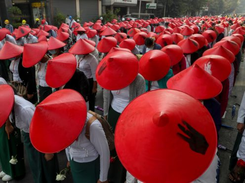 Anti-coup school teachers in Mandalay (AP)