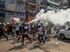 Anti-coup protesters in Yangon in Myanmar (AP)