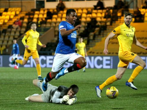 Rangers' Alfredo Morelos was booked for a dive despite Livingston goalkeeper Max Stryjek tripping him in the box (Andrew Milligan/PA)