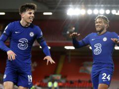 Chelsea's Mason Mount celebrates scoring (Phil Noble/PA)