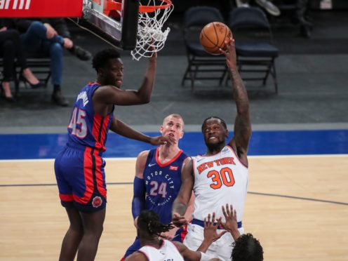 New York Knicks forward Julius Randle, right, pushed his side to victory against the Detroit Pistons (Wendell Cruz/Pool/AP)
