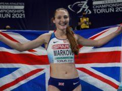Amy-Eloise Markovc celebrates after winning the women's 3,000 metres (Darko Vojinovic/AP)