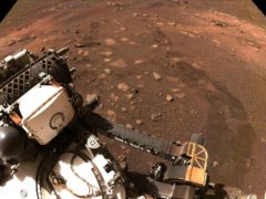 A photo showing tyre marks taken during the first drive of the Perseverance rover on Mars on Thursday (Nasa/JPL/Caltech/AP)