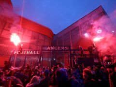 Rangers fans celebrated outside Ibrox as their team closed in on the Premiership title (Robert Perry/PA)