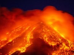 Lava gushes from Mount Etna (Salvatore Allegra/AP