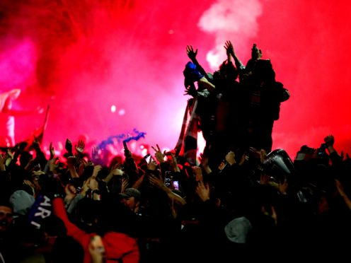 Rangers fans celebrated in Glasgow's George Square after their team were crowned champions (Jane Barlow/PA)