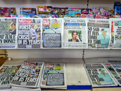 Newspapers the morning after the interview was broadcast on ITV (Peter Byrne/PA)