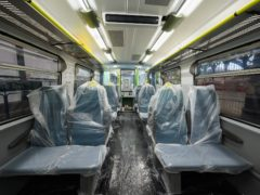 The interior of the Class 313 Coastway train being used for Covid testing (Govia Thameslink Railway/PA)