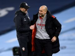 Manchester City manager Pep Guardiola (right) was impressed by the positive shown from Ralph Hasenhuttl's side in their defeat at the Etihad Stadium (Gareth Copley/PA)