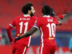 Liverpool's Mohamed Salah, left, celebrates with Sadio Mane (Laszlo Balogh/AP)