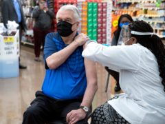 Nevada governor Steve Sisolak gets the Johnson & Johnson Covid-19 vaccine in Las Vegas (Steve Marcus/Las Vegas Sun via AP)