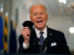 Joe Biden said he is hopeful speeding up US vaccination efforts will allow Americans to gather in small groups on the fourth of July to celebrate a 'truly special' Independence Day (Andrew Harnik/AP)