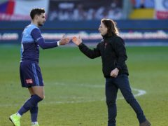Wycombe manager Gareth Ainsworth, right, celebrates victory over Preston with goalscorer Ryan Tafazolli (Tess Derry/PA)