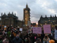 Demonstrators on Westminster Bridge, central London (Dominic Lipinski/PA)