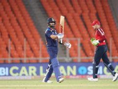 Virat Kohli hit 77 not out for India (Aijaz Rahi/AP)