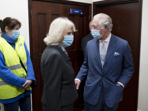 The Prince of Wales and the Duchess of Cornwall during their visit to the vaccination pop-up centre at Finsbury Park Mosque (Geoff Pugh/Daily Telegraph)