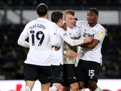 Louie Sibley, second right, celebrates scoring Derby's equaliser (Bradley Collyer/PA)
