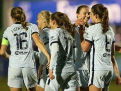 Melanie Leupolz (right) celebrates Chelsea's third goal (Tim Markland/PA)