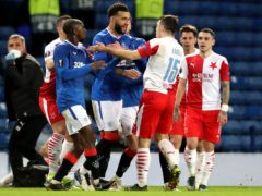 Connor Goldson (centre) reacts furiously to claims of racist abuse (Andrew Milligan/PA)