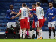 Rangers' Glen Kamara (left) argues with Slavia Prague's Ondrej Kudela (Andrew Milligan/PA)
