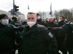 """German police officers arrest a person during a demonstration of right-wing extremists and and so called """"Reich citizens"""" in Berlin (AP)"""