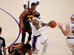 The Los Angeles Lakers lost more than the game on Saturday after LeBron James limped from the court with an ankle injury early in the second quarter against the Atlanta Hawks (Marcio Jose Sanchez/AP)