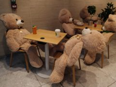 A closed restaurant filled with teddy bears set up by Philippe Labourel in Paris (Francois Mori/AP)