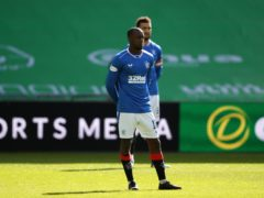 Rangers' Glen Kamara stands instead of taking a knee prior to the Old Firm clash (Andrew Milligan/PA)