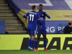Leicester City's Kelechi Iheanacho celebrates after his second goal against Manchester United. (Ian Walton/PA)