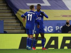 Leicester reached Wembley after beating Manchester United on Sunday, with Kelechi Iheanacho, right, scoring twice (Ian Walton/PA)