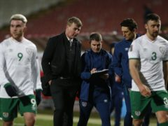 Republic of Ireland manager Stephen Kenny, centre, is still awaiting his first win (Novak Djurovic/PA)