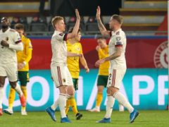Kevin De Bruyne (left) celebrates scoring in Belgium's 2022 World Cup qualifying victory over Wales in Leuven (PA Wire via Belga)