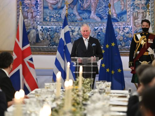 The Prince of Wales gives a speech at the presidential mansion in Athens (Tim Rooke/PA)