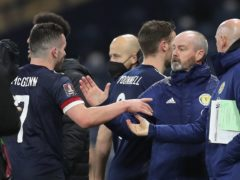Scotland head coach Steve Clarke and goalscorer John McGinn, left (Jane Barlow/PA)