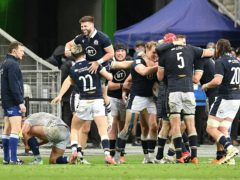 Scotland's Duhan Van Der Merwe (centre) celebrates his winning try (PA Wire via ABACA)