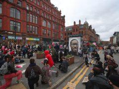 Black Lives Matter demonstrators in St Peter's Square, Manchester (Peter Byrne/PA)