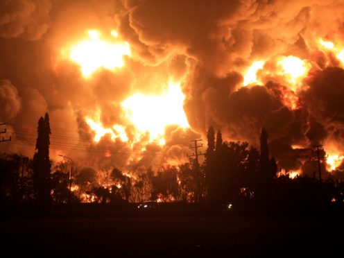 The fire at the refinery in Indonesia (AP)