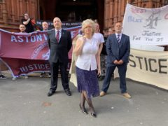 Julie Hambleton, with (left) Michael Lutwyche, and (right) Kevin Gormley, in front of Birmingham Magistrates' Court (Richard Vernalls/PA)