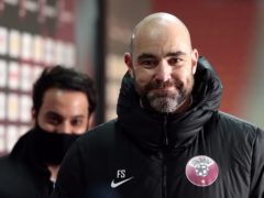 Qatar manager Felix Sanchez interviewed by media after the final whistle in Debrecen (Trenka Attila/PA)