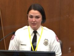 Firefighter Genevieve Hansen testifies at the George Floyd murder trial on Tuesday (Court TV/Pool/AP)