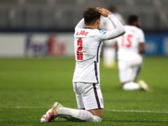 Max Aarons sinks to his knees as England Under-21s exit Euro 2021. (Luka Stanzl/PA)