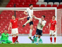 Harry Maguire celebrates his winner (Catherine Ivill/PA)