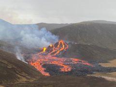 The volcano on the Reykjanes Peninsula in Iceland (Icelandic Coast Guard via AP)