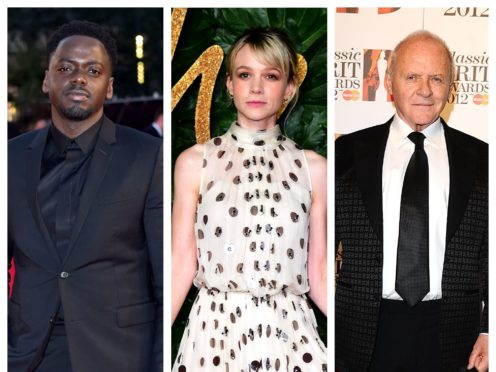 Daniel Kaluuya, Carey Mulligan and Sir Anthony Hopkins (PA)