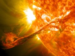 On August 31, 2012 a long filament of solar material that had been hovering in the sun's atmosphere, the corona, erupted out into space at 4:36 p.m. EDT. The coronal mass ejection, or CME, traveled at over 900 miles per second. The CME did not travel directly toward Earth, but did connect with Earth's magnetic environment, or magnetosphere, causing aurora to appear on the night of Monday, September 3. Picuted here is a lighten blended version of the 304 and 171 angstrom wavelengths. CroppedCredit: NASA/GSFC/SDONASA image use policy.NASA Goddard Space Flight Center enables NASA's mission through four scientific endeavors: Earth Science, Heliophysics, Solar System Exploration, and Astrophysics. Goddard plays a leading role in NASA's accomplishments by contributing compelling scientific knowledge to advance the Agency's mission.Follow us on TwitterLike us on FacebookFind us on Instagram