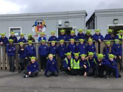 Children at North Ormesby Primary Academy wearing Shrek beanies (North Ormesby Primary Academy/PA)