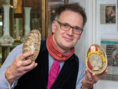Auctioneer Charles Hanson with the 1924 Easter egg (Mark Laban/Hansons/PA)