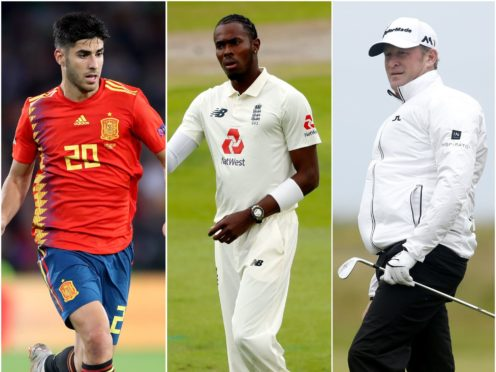 Marco Asensio, Jofra Archer and Jamie Donaldson (Nick Potts/Lee Smith/Danny Lawson/PA)