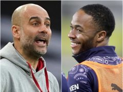 Pep Guardiola (left) has refuted reports of a disagreement with Raheem Sterling (PA)