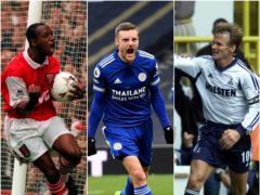 Jamie Vardy joined a elite group with record holders Ian Wright, left, and Teddy Sheringham, right (Neil Munns/Andy Rain/ Tom Hevezi/PA)